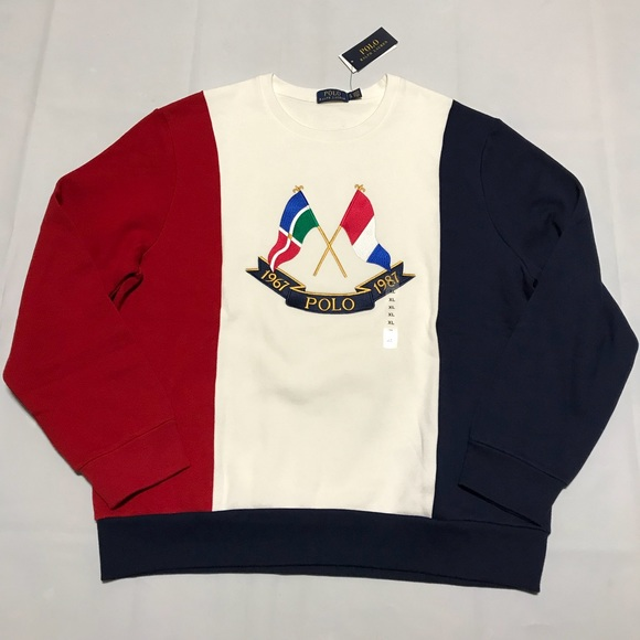 de0dc18a5 Polo by Ralph Lauren Sweaters   Polo Rl Cross Flags Crewneck ...